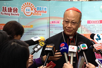 His Eminence John Cardinal Tong Hon accepted the invitation of interviews after the event
